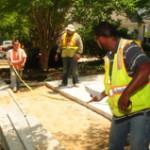 Sidewalk installation, streetscape project, site grading